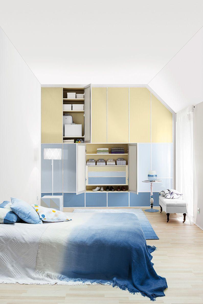 Es wird Frühling im Schlafzimmer - mit den maßgefertigten Einbauschränken in frischen Pastellfarben