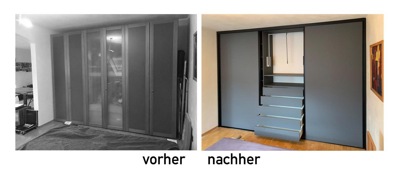 Cabinet Einbauschrank in schiefergrau mit Schiebetüren in schwarzem Rahmen. Schick und zeitlos