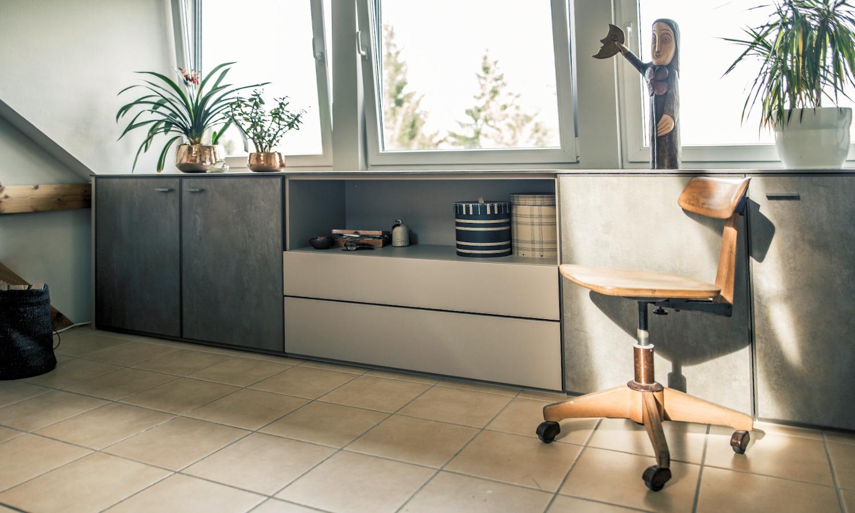 Sideboard nach Maß industrial mit Drehtüren Grau von CABINET